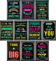 Amazon Com Motivational Posters For Classroom Office Decorations Inspirational Quote Wall Art For Teachers Students School Counselors Home Office Set Of 10 Creative Chalkboard Designs Office Products