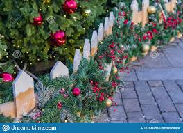 Christmas Outdoors Decoration Of Fence Branches With Balls And Garland Stock Image Image Of Bright Happy 172933595