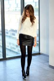 fluffy jumper leather skirt outfit