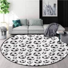Amazon Com Rugsmat Boys Room Round Kids Rugs Pattern With Vivid Graphic Soccer Balls Sports Icon Athletics Hobbies Learning Carpet Non Skid Nursery Kids Area Rug For Playroom Diameter 63 Inch Home Kitchen