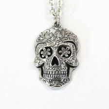 sugar skull necklace silver sugar
