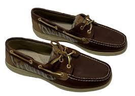 sperry brown leather top siders sz 10