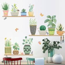 Green Plants Wall Decal Garden Pots Wall Stickers Kids Wall Etsy