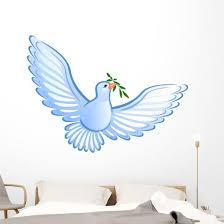 White Dove Olive Branch Wall Decal Wallmonkeys Com