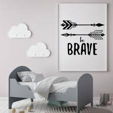 Be Brave Quote Vinyl Decal With Native American Arrows Nursery Decor Customvinyldecor Com