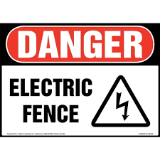 Danger Electric Fence Sign With Icon Osha
