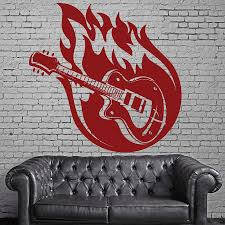 Vinyl Wall Decal Single Color Guitar Music Strings Fire Wall Sticker Musical Studio Teen Bedroom Interior Decor Art Mural M099 Wall Stickers Aliexpress