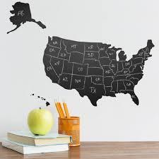 Us Chalkboard Map Wall Decal Peel Stick Wallums