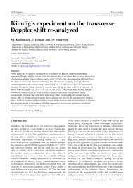 PDF) Kündig's experiment on the transverse Doppler shift re-analyzed