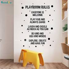 Playroom Rules Poster Wall Decals Sign Nursery Boy Girl Bedroom Door Vinyl Sticker Kids Quote Decor Murals Removable Yt2841 Wall Stickers Aliexpress