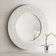 shimmer white capiz 32 round mirror