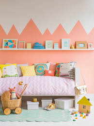 Peach Graphic Statement Wall Girl Room Kids Room Kids Bedroom