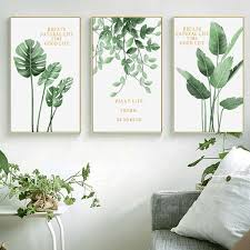 framed wall art green plants nordic