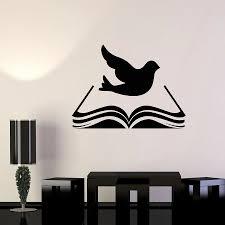 Book Wall Decal Library Holy Bible Religious Bird Dove Wall Sticker Classroom Kids Study Decor Art Murals Bedroom Decoration Wall Stickers Aliexpress