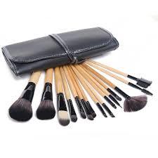 wood color makeup brushes kit make up