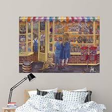 Amazon Com Wallmonkeys Lollipop Candy Shop Wall Mural By Tricia Reilly Matthews 60 In W X 42 In H Wm144751 Home Kitchen