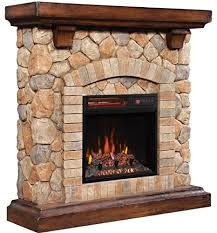 rustic stacked stone electric fireplace
