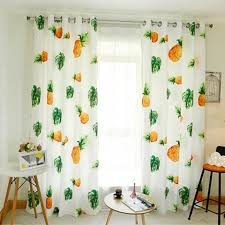 Cute White And Yellow Pineapple Curtains For Kids Room