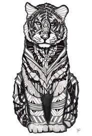 Tiger Zentangle Kleurplaten Dieren Tijger
