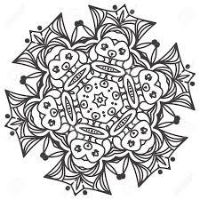 Etnische Fractal Mandala Floral Doodle Pattern Kleurplaat Voor