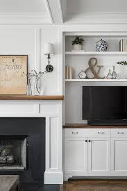 shelf next to fireplace mantel
