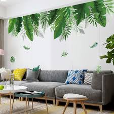 Big Tropical Palm Leaf Wall Stickers Green Plants Wall Decal Greener Lover Leaves Wall Mural Creative Living Room Home Decor Bohemia Thefuns On Artfire