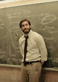 In Enemy, there are writings about history on the blackboard Adam Bell is  leaning on because he is a history teacher. - moviescirclejerk