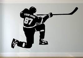 Amazon Com Personalized Hockey Wall Decal Custom Name Numbers Custom Player Hockey Shot Vinyl Decal Sticker Kids Bedroom Decor Handmade