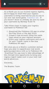 Ingress username available for use as trainer name for a limited ...