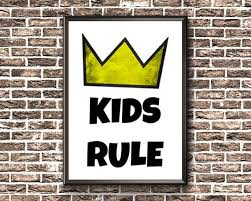 Kids Room Sign Kids Rule Print Kids Bedroom Printable Kids Room Sign Room Signs Wall Art Painting