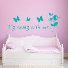 Butterfly Sayings Wall Decal Fly Away With Me Wall Decal