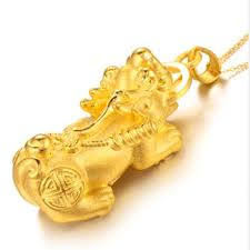 pure 24k yellow gold pendant 3d 999