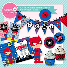 Kit Imprimible Personalizado Spiderman Junior Baby Personalizado