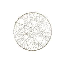 20 inch round silver metal wire wall