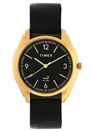 timex gold dial black leather watch for