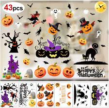 Konsait 43pcs Halloween Decals Window Stickers Clings Happy Halloween Bat Black Cat Witch Ghosts Pumpkin Window Decal For Trick Or Trea