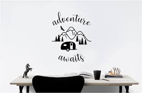 Amazon Com Simple Expressions Arts Camper Outdoor Adventure Awaits Family Love Vinyl Quote Saying Wall Art Lettering Sign Room Decor Inspirational Mural Artwork Home Kitchen