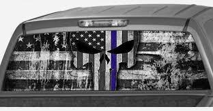 American Police Flag Punisher Skull B W Thin Blue Line Usa Etsy