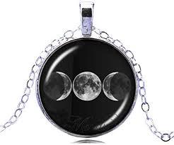 necklace triple moon pendant
