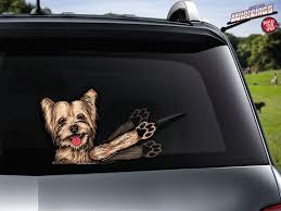 Sophie Mae Yorkie Waving Dog Sticker Decal Wipertags Attach To Rear Wiper Blades Wipertags