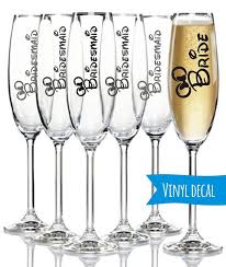 Minnie Mouse Custom Champagne Flute Diy Decal Personalized Wedding Disney Bridal Party Custom N Champagne Flutes Diy Disney Party Diy Custom Champagne Flute