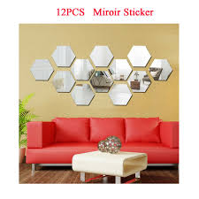 24pcs 3d Mirror Hexagon Vinyl Removable Wall Sticker Decal Home Office Decor For Sale Online