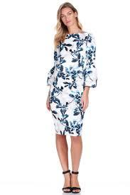 Myra Bell Sleeve Maternity Dress in Blue Leaf – Seven Women Maternity