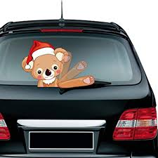 Amazon Com Ternence Flynn Christmas Cute Koala Waving Wiper Decal For Rear Window 3d Cartoon Festive Car Sticker Vinyl Decal For Vehicle Rear Wipers Xmas Decoration Sports Outdoors