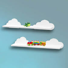 Set Of 2 White Cloud Floating Wall Shelves Kids Room Bathroom Shelving Mdf Shelf Ebay