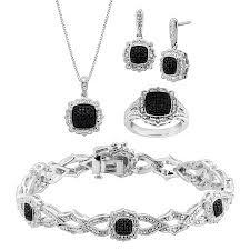 5 ct black white diamond jewelry set