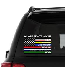 No One Fights Alone Thin Blue Line American Flag Vinyl Car Etsy Fight Alone Car Decals Vinyl Thin Blue Lines