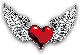Amazon Com Vinyl Junkie Graphics Heart And Angel Wings Car Truck Window Laptop Sticker Decal Automotive