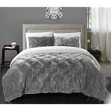 pintuck sherpa lined king bed