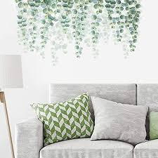 Amazon Com Decalmile Hanging Green Vine Wall Decals Eucalyptus Leaves Plants Wall Stickers Be In 2020 Wall Decals Living Room Wall Stickers Bedroom Living Room Plants